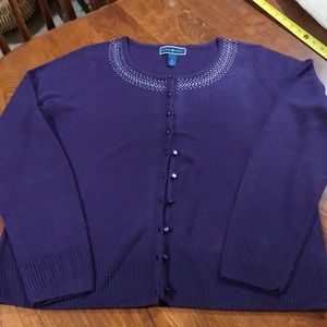 Karen Scott Purple jeweled cardigan